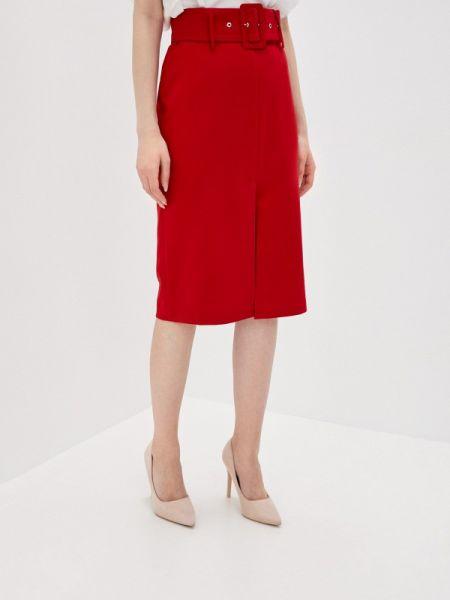 Красная юбка карандаш с рукавом 3/4 снежная королева