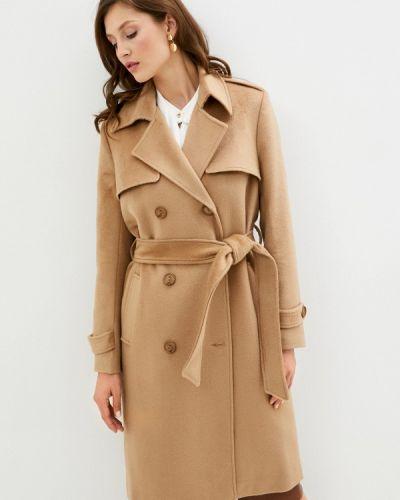 Бежевое пальто двубортное Trendyangel