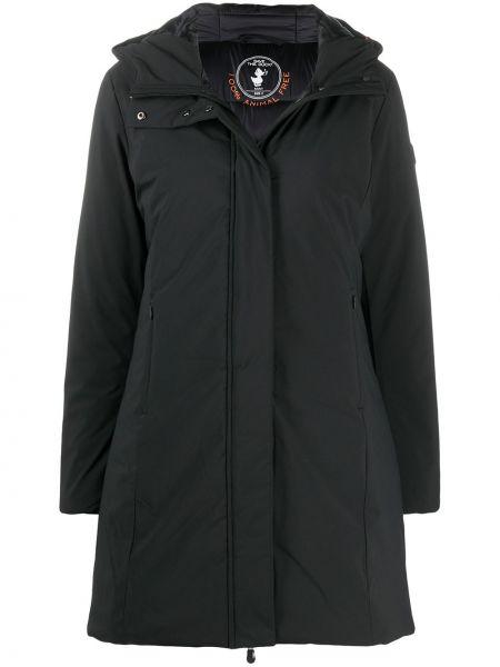 С рукавами черное пальто классическое с капюшоном Save The Duck