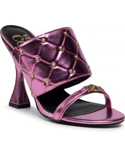 Złote sandały - różowe Versace Jeans Couture
