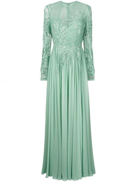 Шелковое зеленое платье макси с пайетками Elie Saab