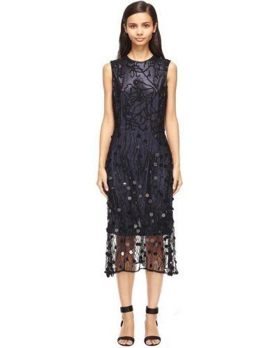Шелковое платье миди - синее Rodarte