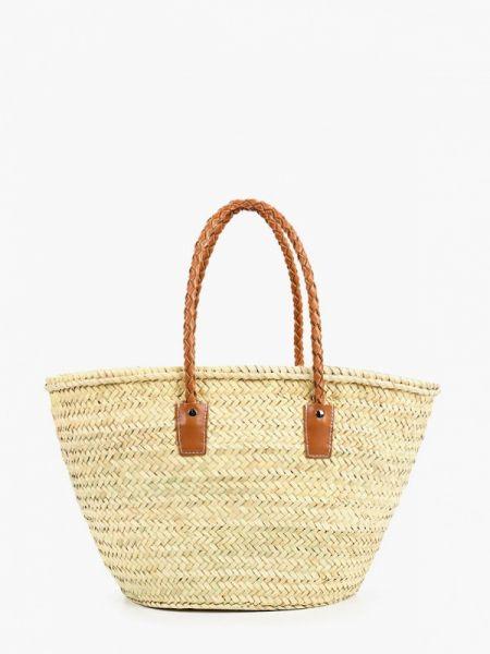 Кожаная сумка соломенная бежевый Mango