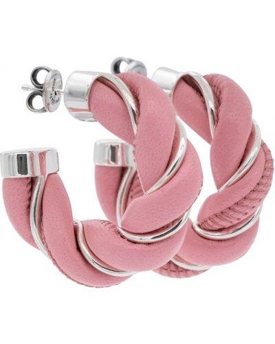 Кожаные серьги - розовые Bottega Veneta