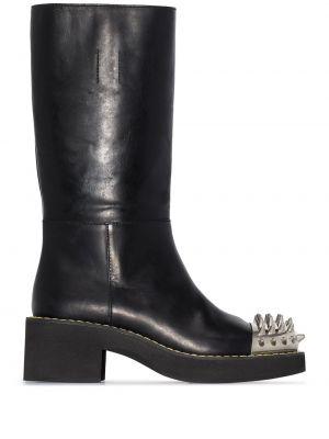 Czarny buty na pięcie na pięcie z prawdziwej skóry Miu Miu