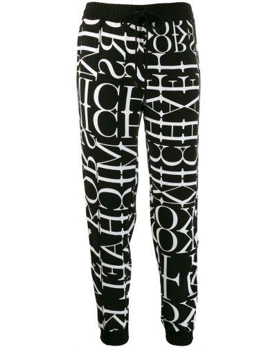Спортивные брюки с манжетами черно-белые Michael Kors Collection