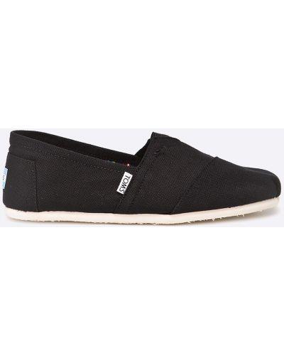 Эспадрильи кожаные черные Toms