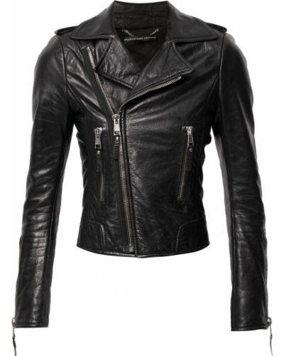 Черная кожаная длинная куртка байкерская Balenciaga Pre-owned
