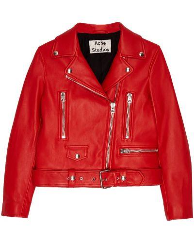 Кожаная куртка байкерская с карманами Acne Studios