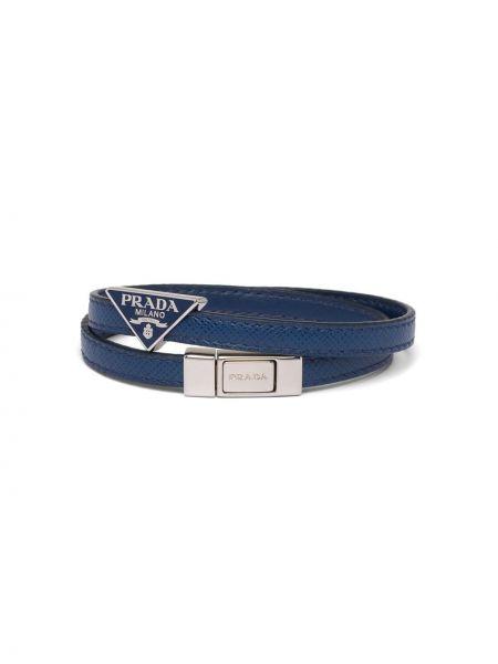 Niebieska bransoletka skórzana Prada