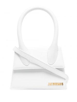 Золотистая кожаная белая сумка на плечо Jacquemus