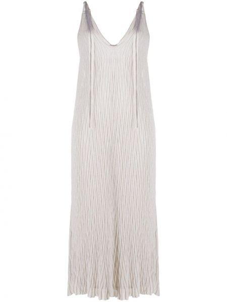 Однобортное платье макси с V-образным вырезом на молнии металлическое Mrz
