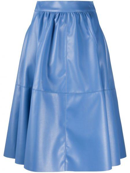 Ватная хлопковая фиолетовая юбка миди в рубчик Jejia