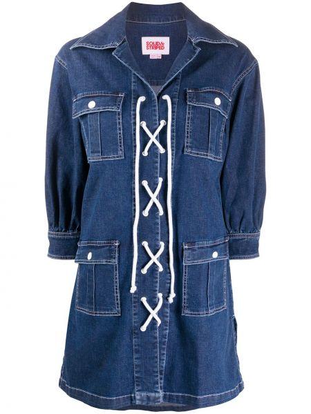Джинсовое платье в полоску на шнуровке Solid & Striped