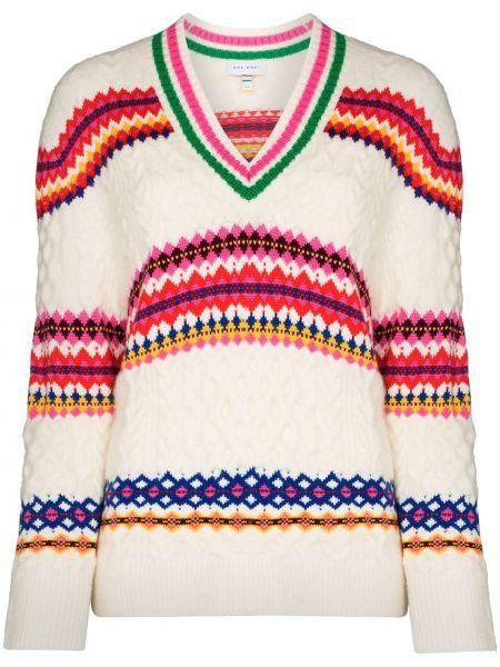 Белый акриловый свитер с V-образным вырезом Mira Mikati