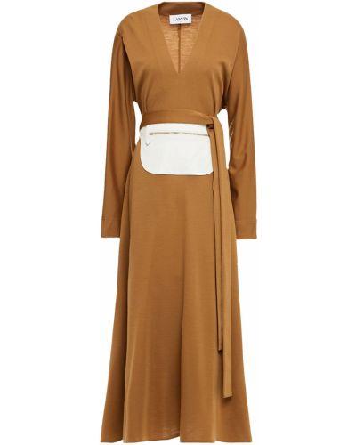Шерстяное платье макси Lanvin