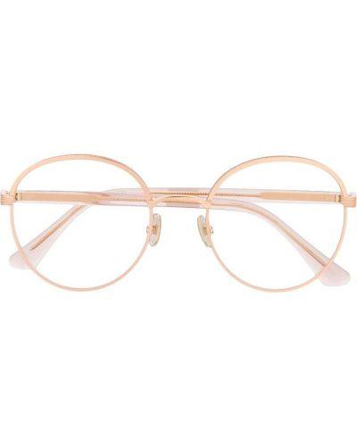 Золотистые желтые очки круглые металлические Jimmy Choo Eyewear