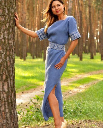 Платье макси длинное - синее Rozetka