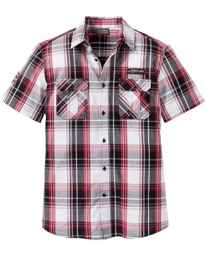 Рубашка с короткими рукавами в клетку с карманами Bonprix