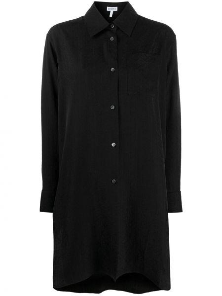 Шелковая с рукавами черная классическая рубашка Loewe