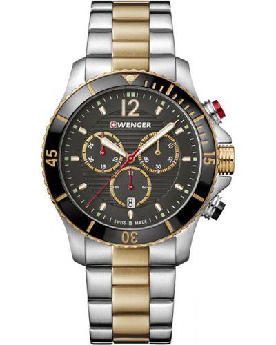 Часы водонепроницаемые швейцарские серебряный Wenger