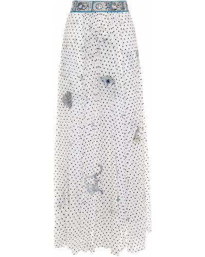 Шелковая белая юбка макси прозрачная Camilla