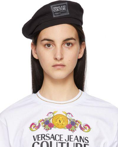 Czarny beret bawełniany Versace Jeans Couture