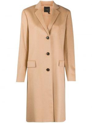 Шелковое бежевое однобортное пальто с карманами Agnona