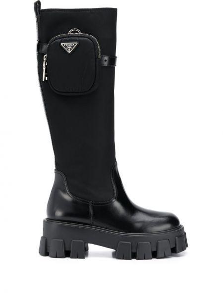 Czarny buty na pięcie w połowie kolana okrągły nos okrągły Prada
