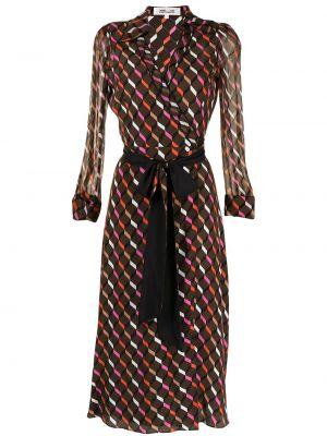 Brązowa sukienka z jedwabiu Dvf Diane Von Furstenberg