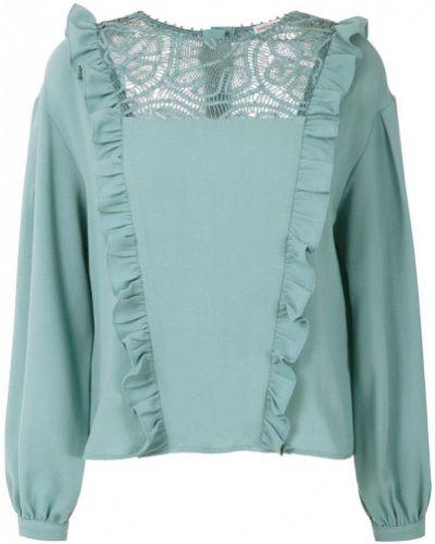 Блузка с длинным рукавом с рюшами зеленый Martha Medeiros