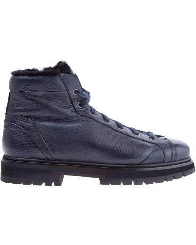 Зимние ботинки кожаные с мехом Santoni