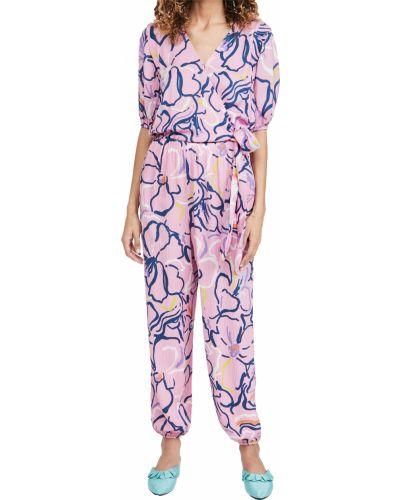 Фиолетовый шелковый комбинезон с шортами стрейч Tanya Taylor