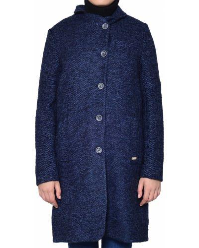 Синее шерстяное пальто с капюшоном Luis Trenker