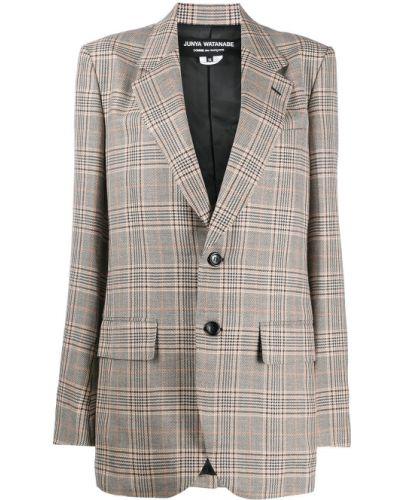 Однобортный удлиненный пиджак в клетку с карманами Junya Watanabe