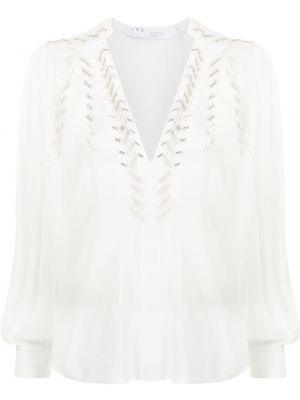 Белая блузка с пайетками с вырезом Iro
