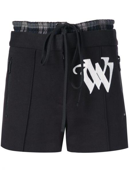 Хлопковые черные шорты с карманами Vera Wang