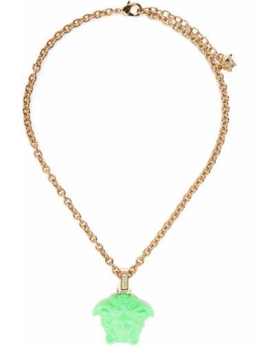 Zielony złoty naszyjnik Versace