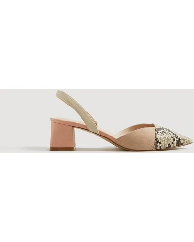 Кожаные туфли с острым носком на каблуке Mango