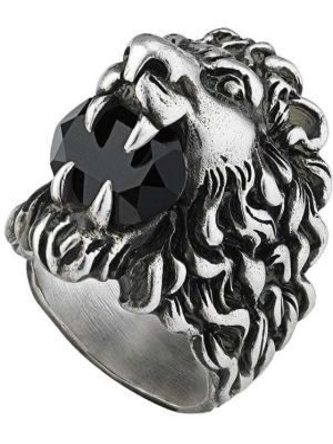 Czarny pierścionek srebrny Gucci