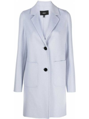 Однобортное синее шерстяное пальто классическое Arma