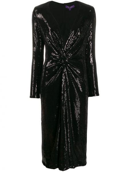 Платье миди с вышивкой с V-образным вырезом Ralph Lauren Collection