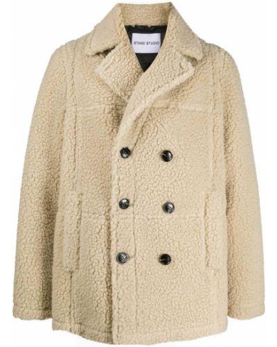 Длинное пальто на пуговицах свободного кроя со вставками из овчины Stand