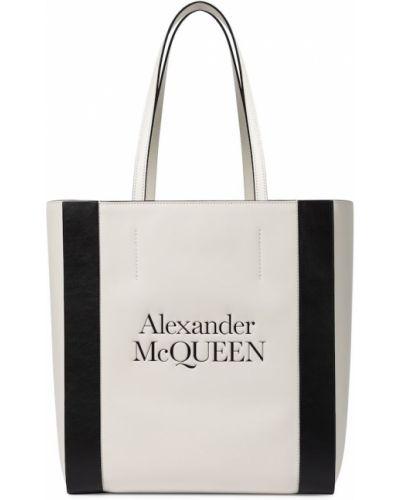 Skórzany biały torba na zakupy Alexander Mcqueen