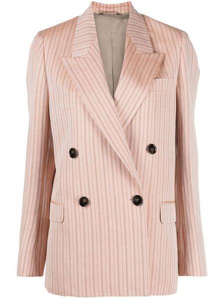 Розовый удлиненный пиджак двубортный с карманами Acne Studios