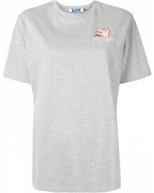 С рукавами хлопковая серая футболка с круглым вырезом Sjyp