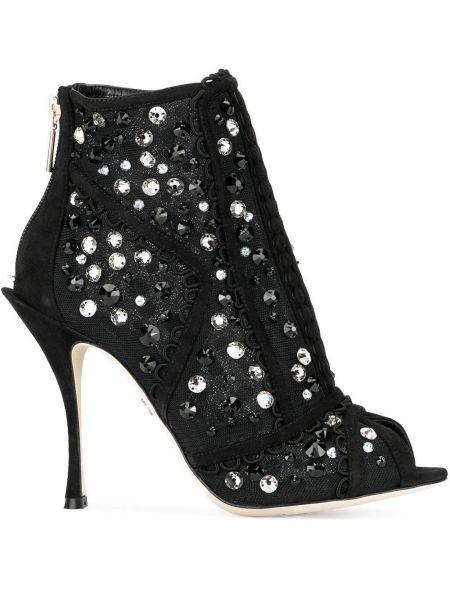 Skórzany czarny skórzane botki na pięcie Dolce And Gabbana
