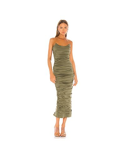 Платье миди стрейч зеленый Miaou