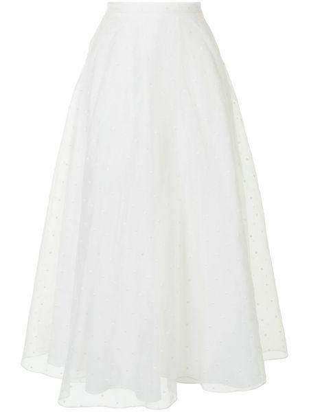 Biały jedwab z wysokim stanem spódnica midi z haftem Christian Dior