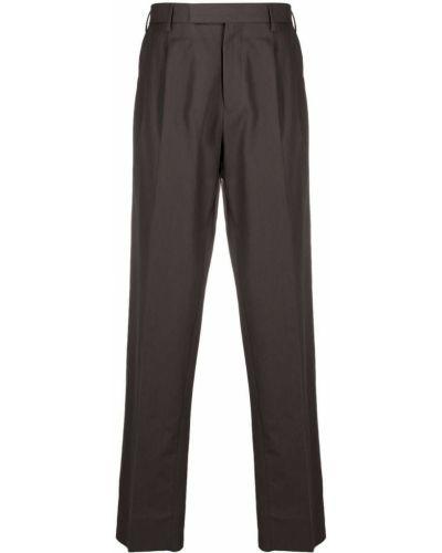 Хлопковые коричневые брюки с карманами Ermenegildo Zegna